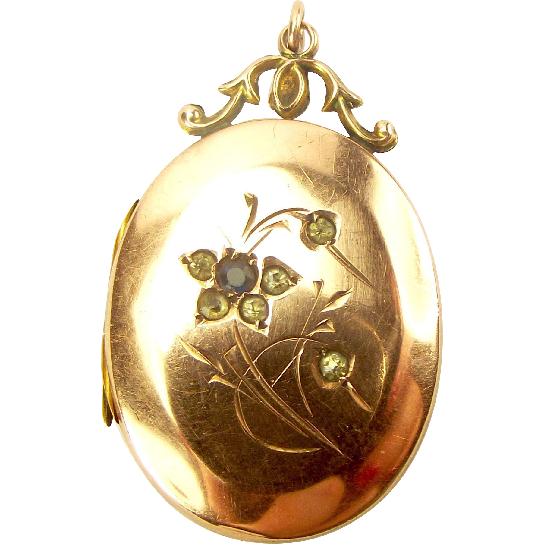 Edwardian 9ct Gold B&F Paste Set Floral LOCKET Opens