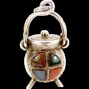 Edwardian Silver Scottish Agate CAULDRON Fob Charm Pendant 1910 Moves