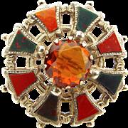 Victorian Silver & Scottish AGATE & Citrine/Glass BROOCH Pin