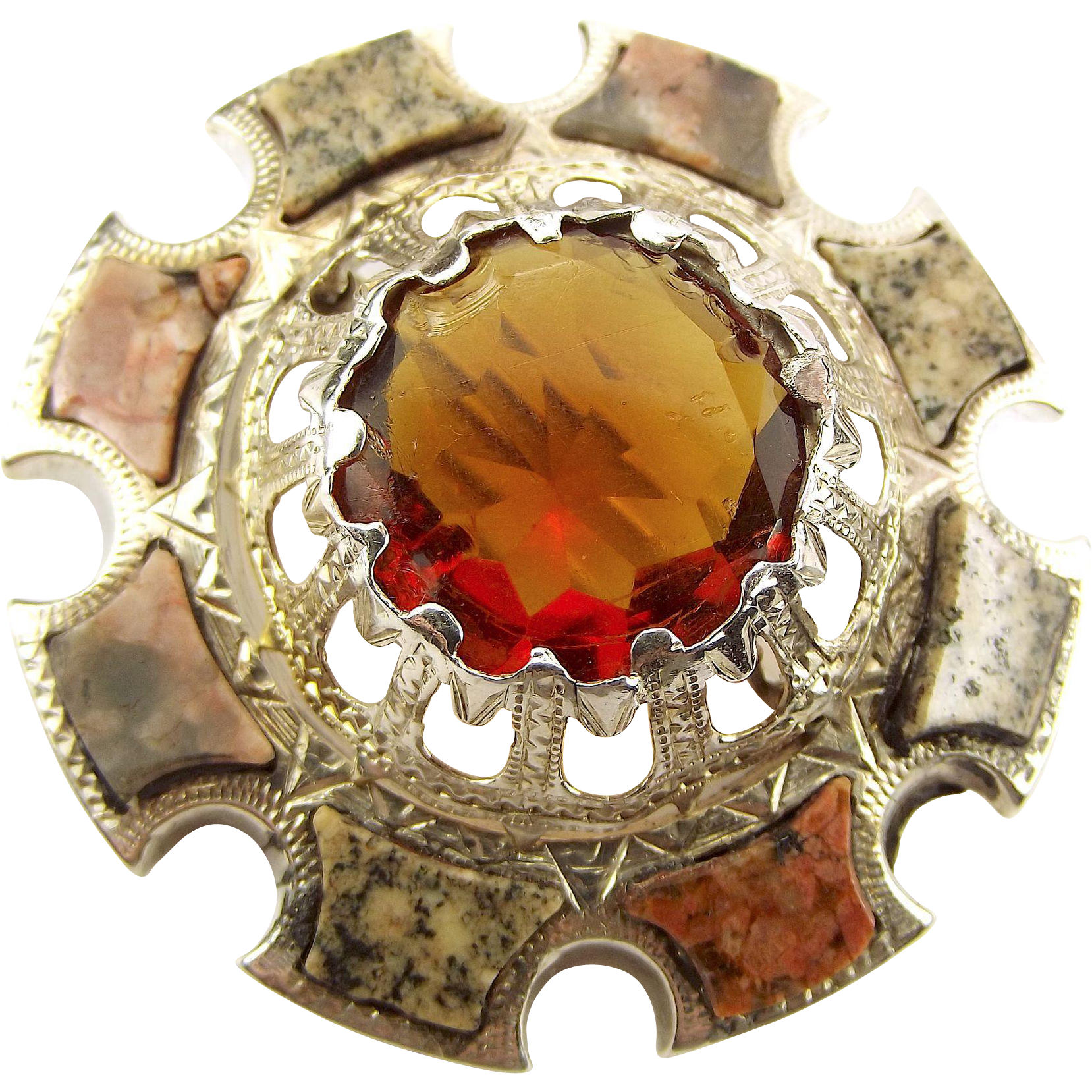 Victorian Silver & Scottish GRANITE & CITRINE/Glass Brooch Agate/Pebble