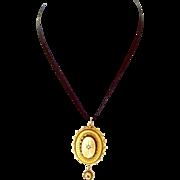 OOAK Victorian 15ct Gold & Diamond LOCKET & 9ct Gold & Garnet DROP 1886