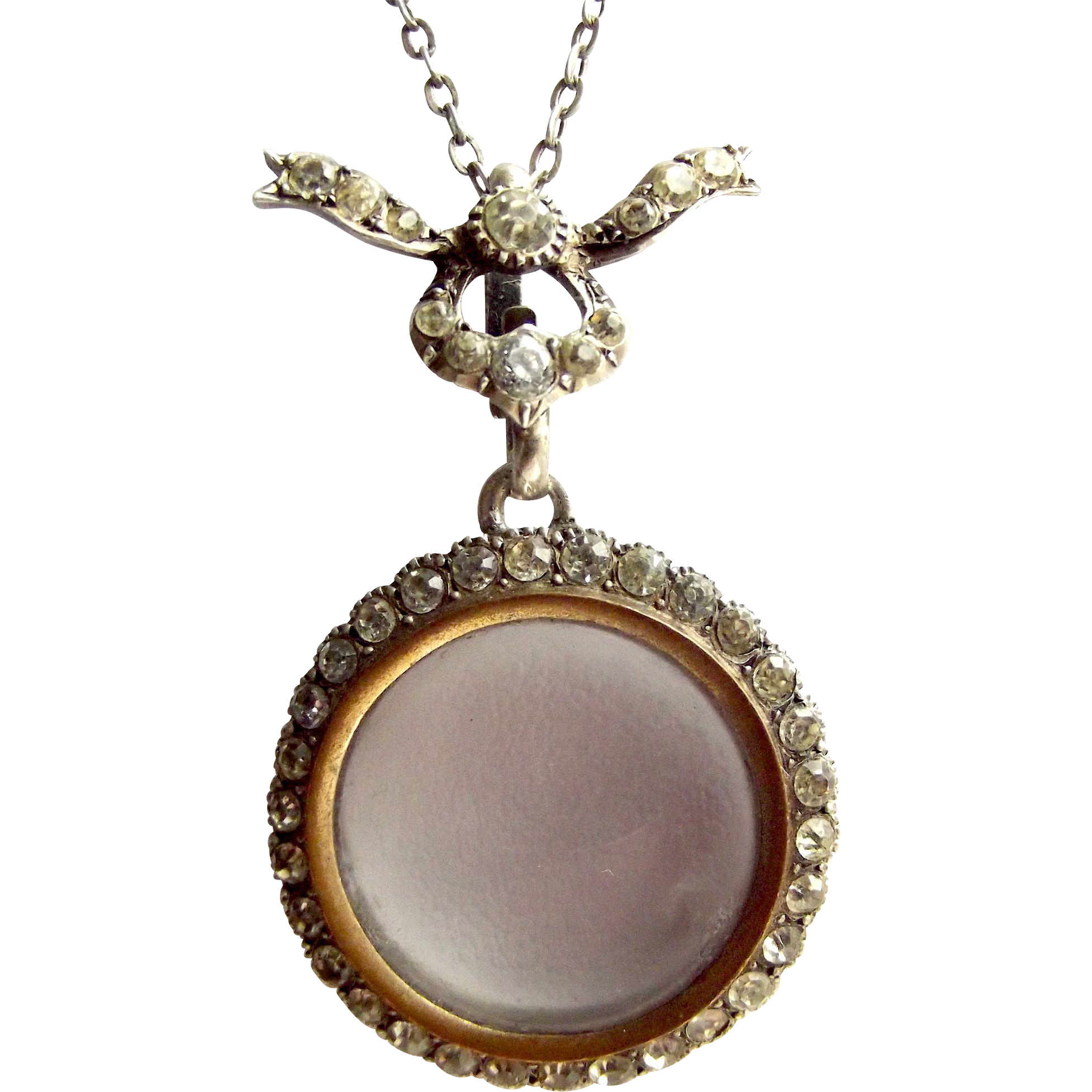 "Edwardian Silver & Paste Picture LOCKET + BOW Detail 20"" Chain"