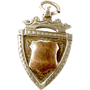 EDWARDIAN Silver & 9ct Gold FOB Charm PENDANT 1909