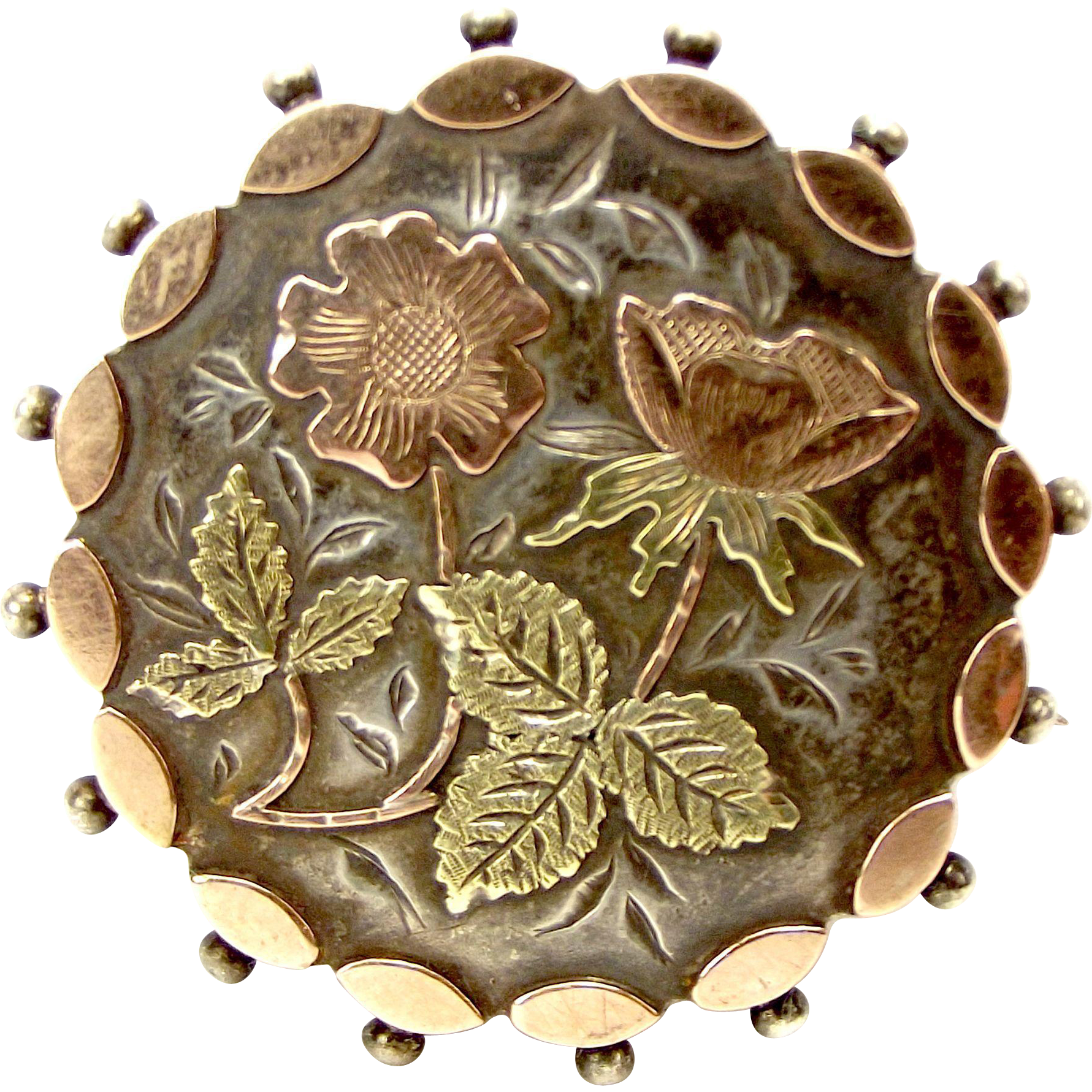 Victorian Silver 9ct Rose & Yellow Gold DOG ROSE Detail Brooch Pin