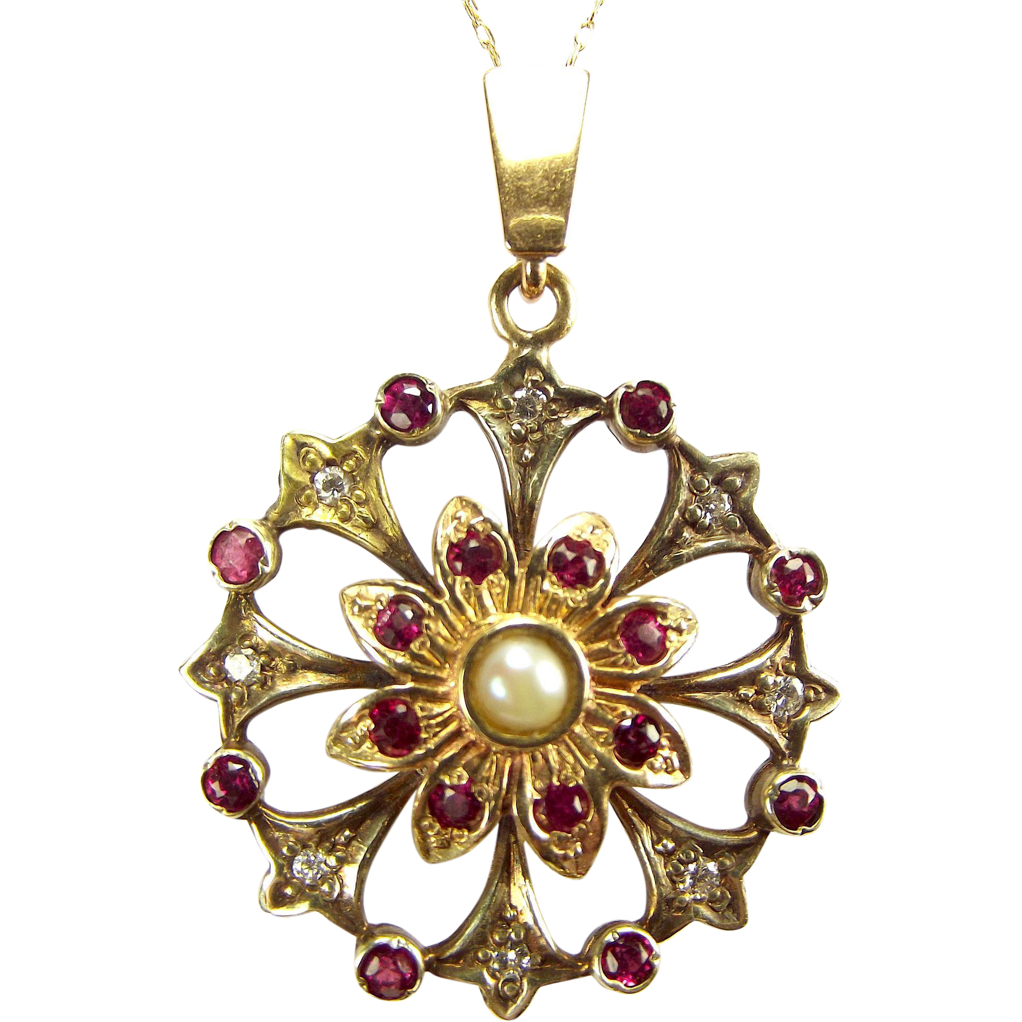 "Victorian 9ct Gold Diamond Ruby Pearl FLOWER PENDANT 18"" Gold Chain"