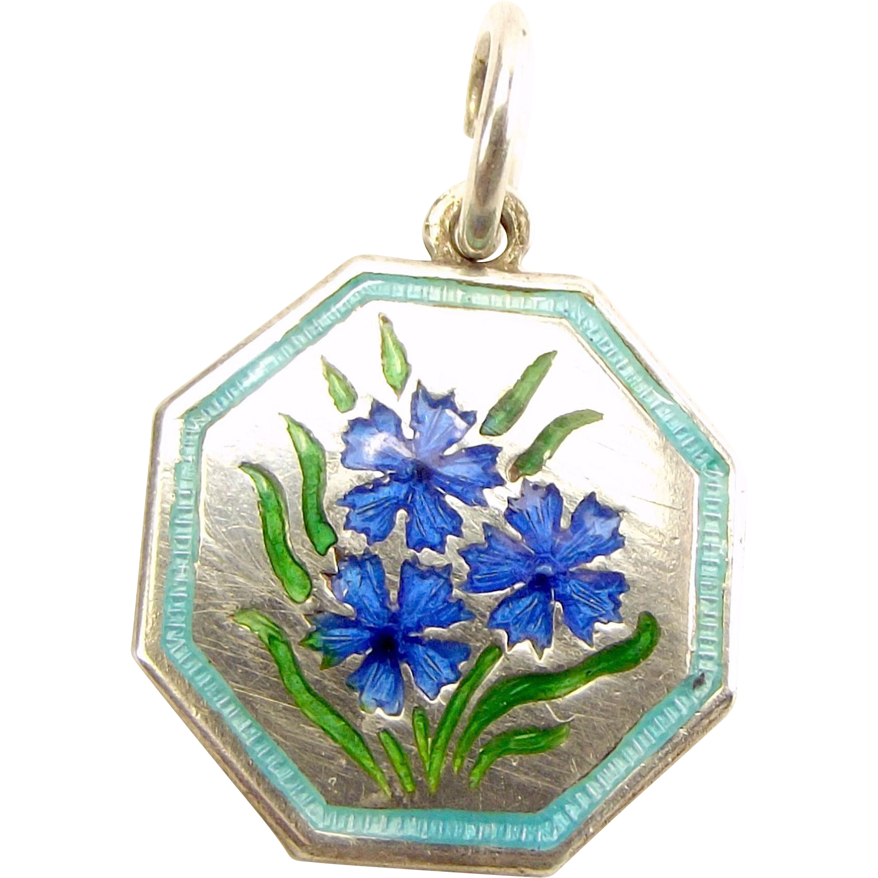TLM Thomas L Mott CORNFLOWER September 'Flower of the Month' Sterling Silver and Enamel Charm