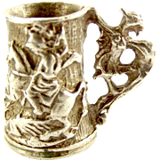 Vintage 1976 Silver Charm St George Slaying Dragon TANKARD