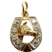Vintage 9ct Gold & Paste HORSESHOE Charm HORSE'S HEAD Pendant 1984