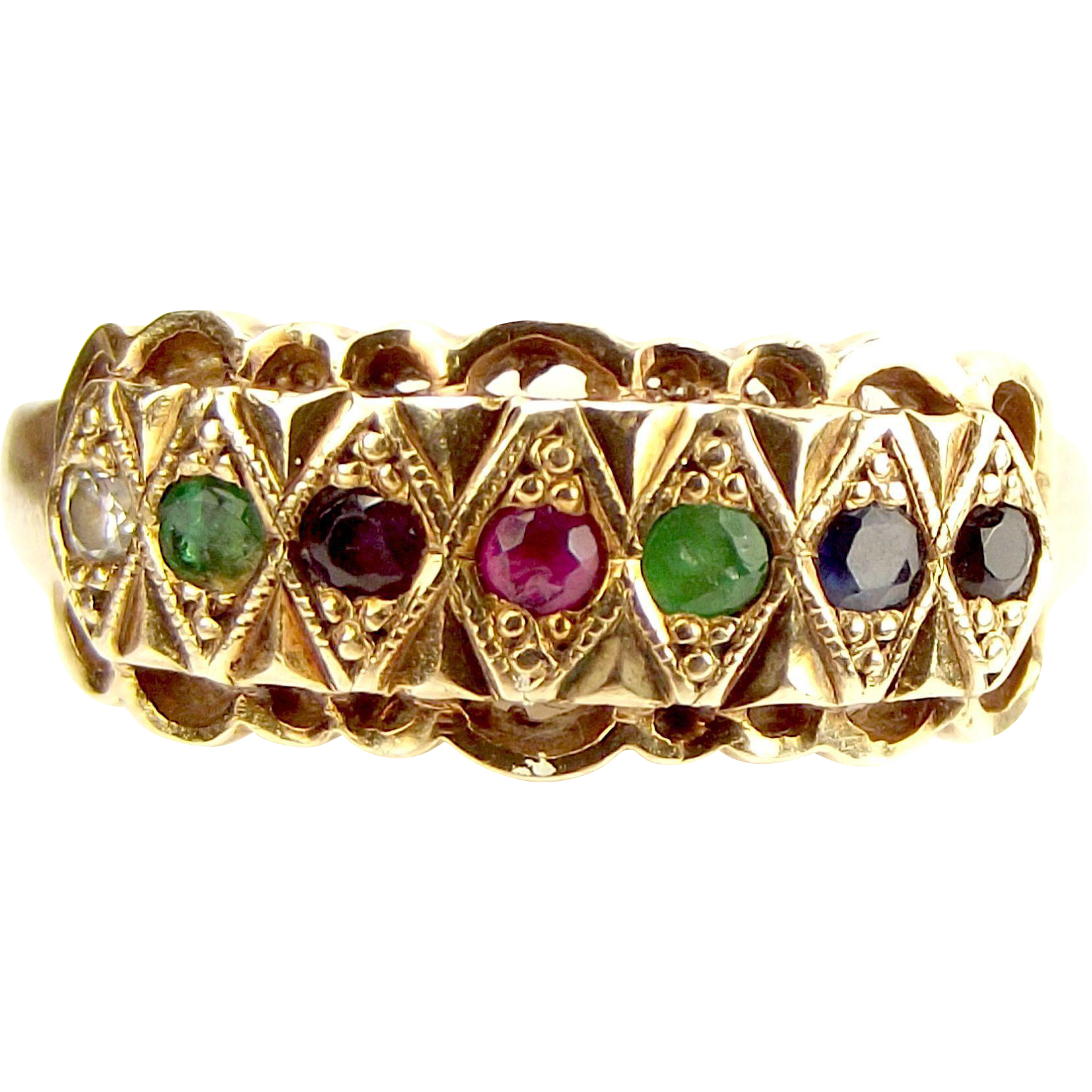 vintage 9ct gold dearest gem set ring 1910 s 1920 s from