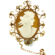 Edwardian 9ct Gold & Seed Pearl CAMEO Brooch Pin