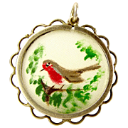 Vintage OOAK Hand Painted ROBIN In Silver Mount PENDANT