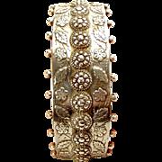 Victorian Silver Bracelet Bangle Raised Decoration Chester 1882