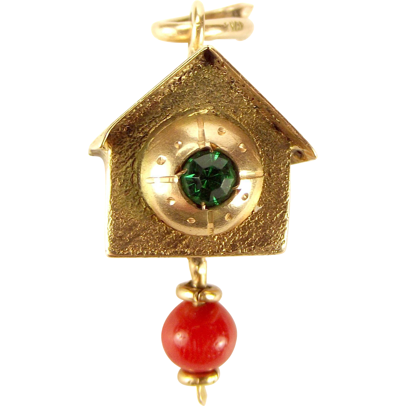 Unusual Vintage 14ct Gold CUCKOO CLOCK Charm Moving Coral Pendulum