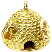 Vintage 9ct Gold Charm BEE HIVE Opens HONEYCOMB Georg Jensen London Stamp