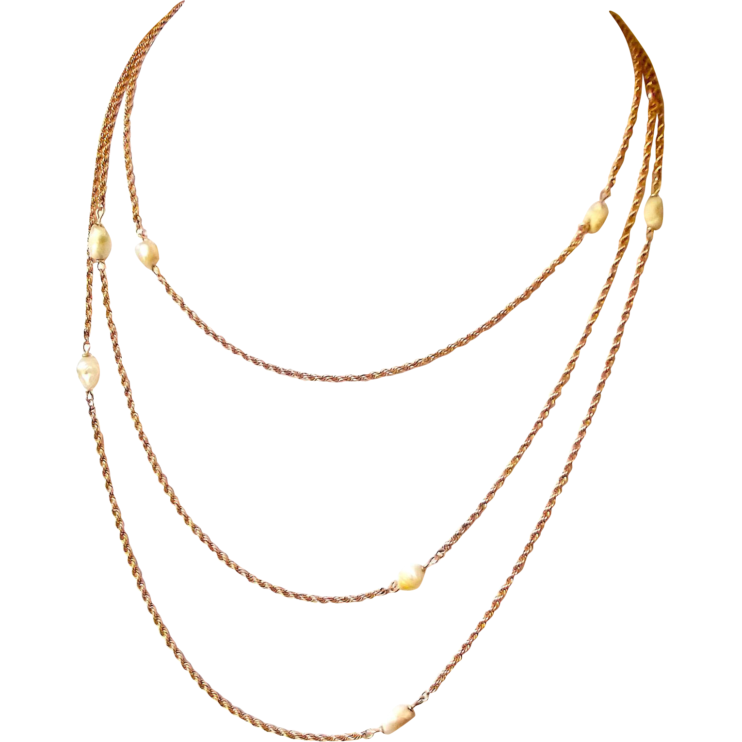Victorian 9ct ROSE Gold MUFF/GUARD Chain SAUTOIR Baroque Pearls 58""