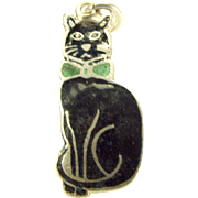 Edwardian Silver & Black Enamel CAT Wearing Green BOW TIE Collar