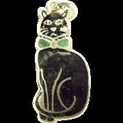 Edwardian Silver & Black Enamel CAT Wearing Green BOW TIE Collar