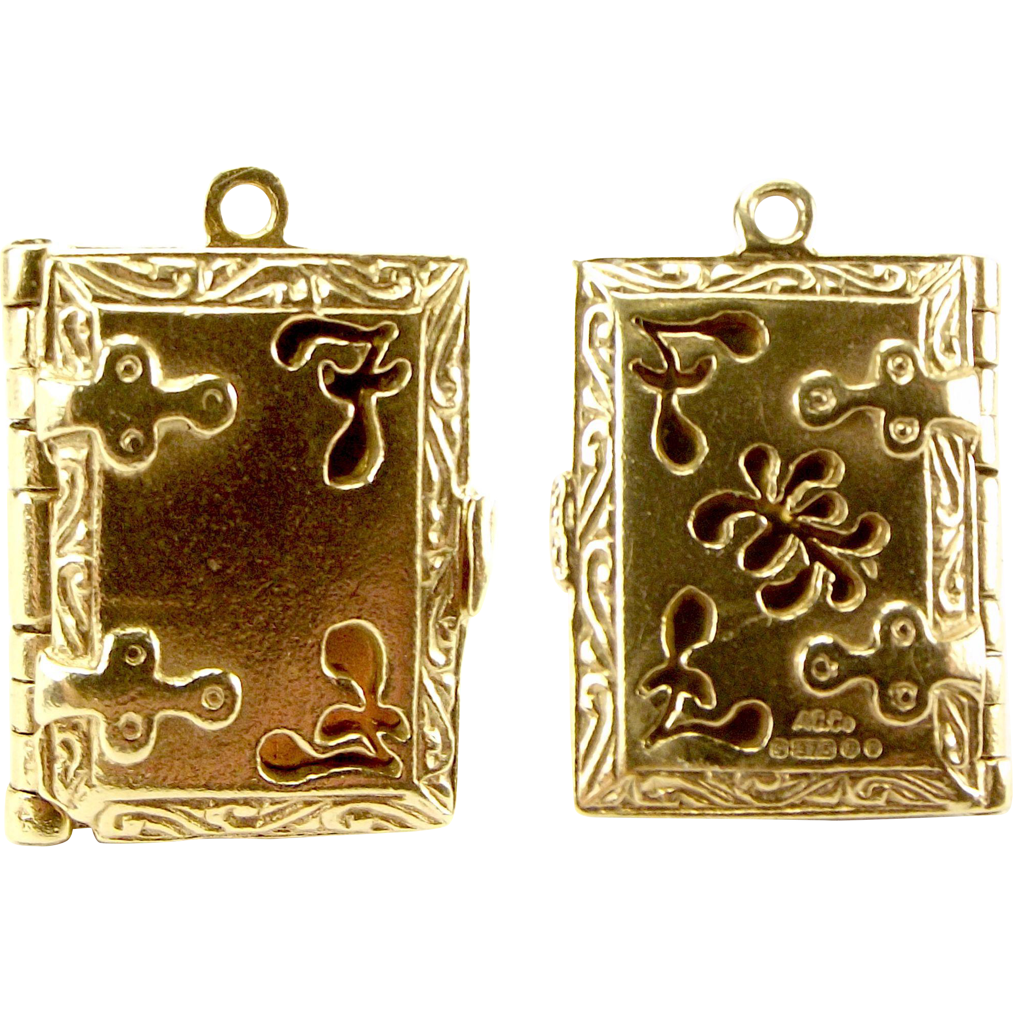 Vintage 9ct Gold Pierced BOOK Locket Opens Three Hinged PAGES 1970