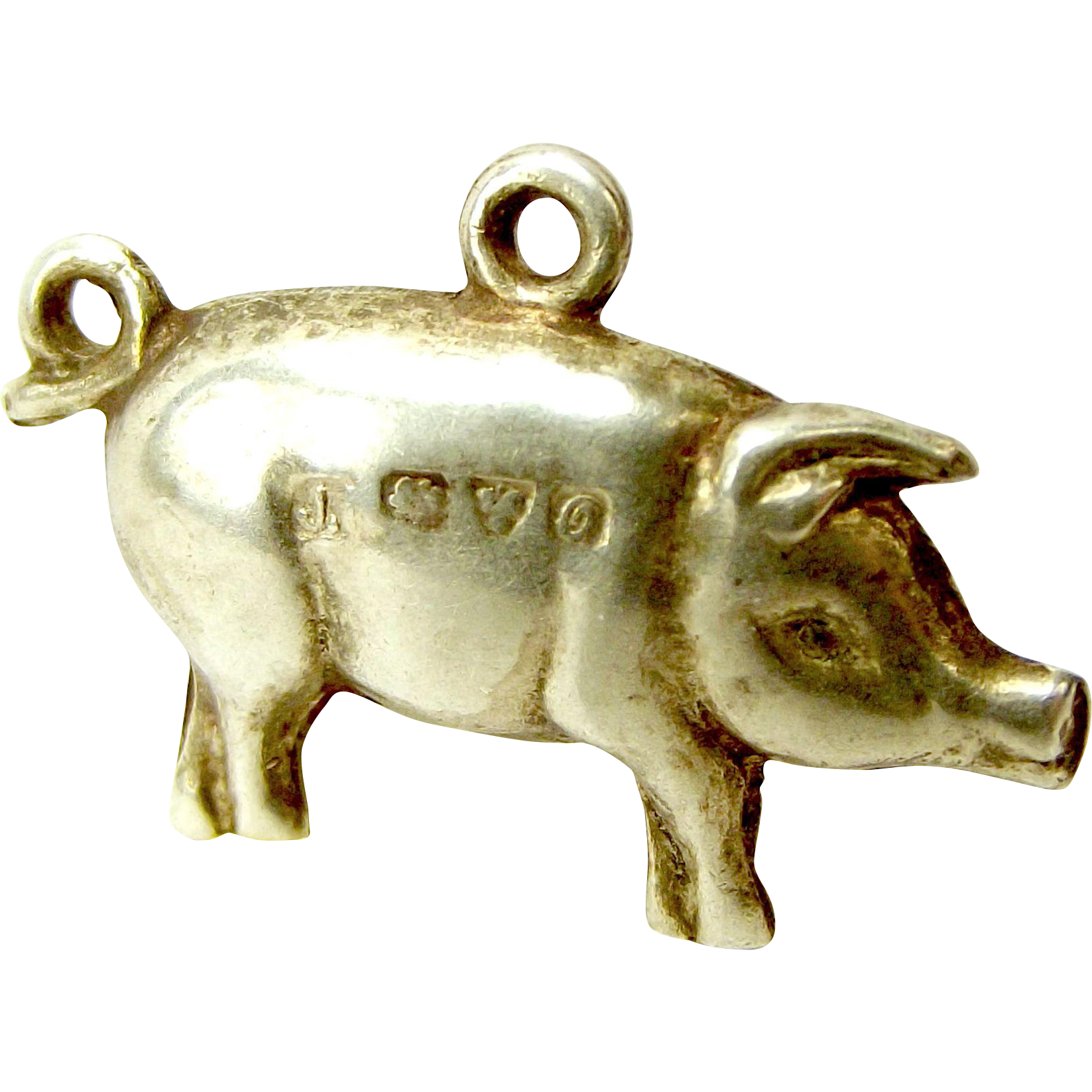 Antique Silver Puffy PIG Charm Chester Hallmark 1914