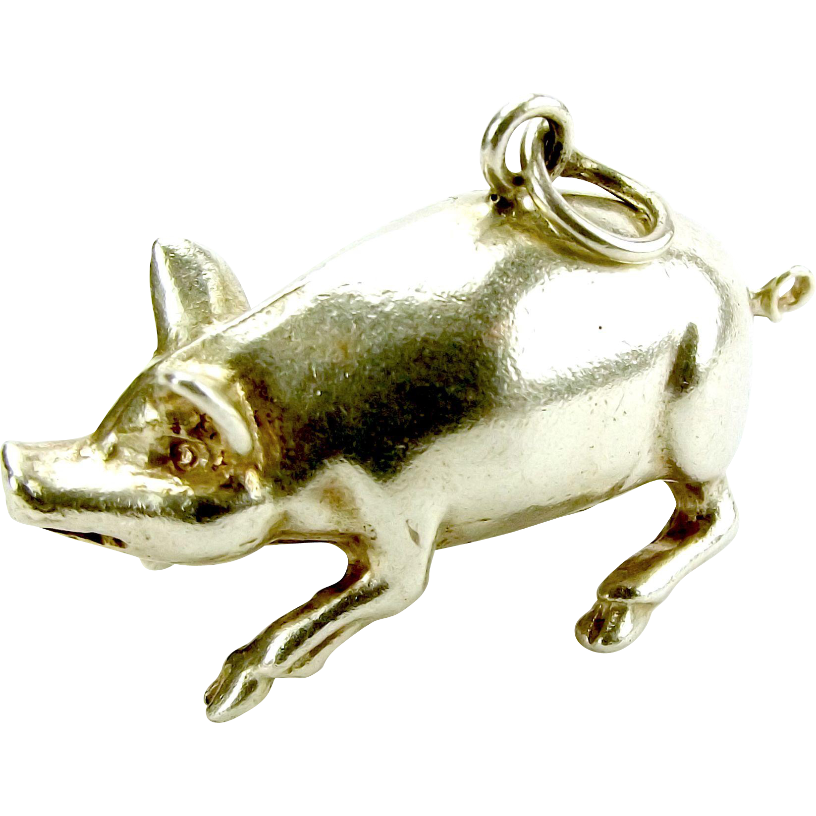 Vintage Silver 1960's PIG Charm Heavy 7.2g
