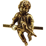 Victorian 9ct Gold Bar Brooch Little BOY & DOG & Pearl BALL