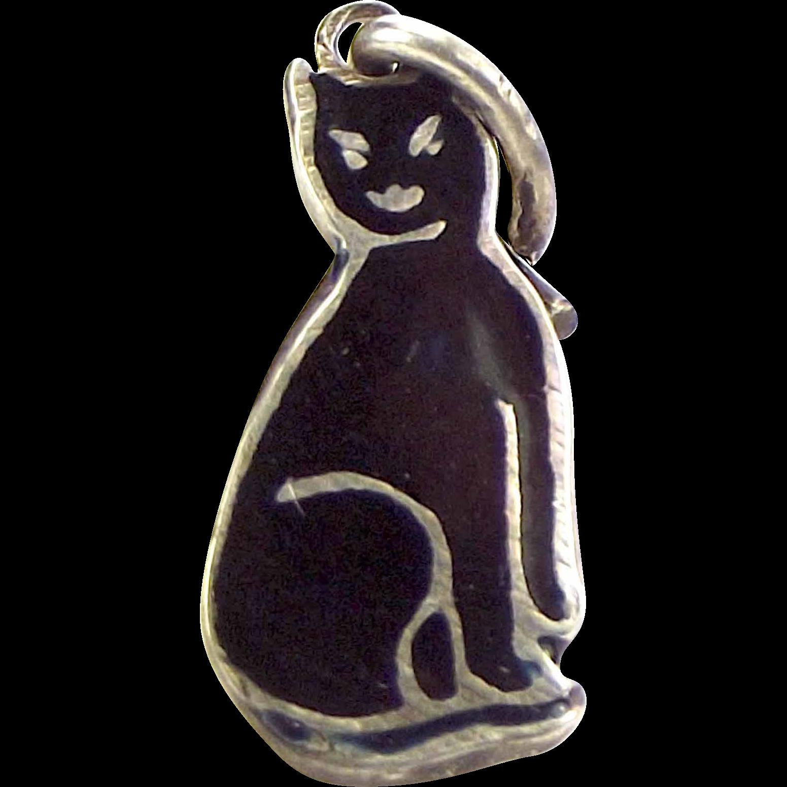 Vintage Silver Black Enamel CAT Charm TL MOTT