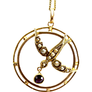 """Victorian 9ct Gold Seed Pearl SWALLOW with AMETHYST Drop Pendant 16"""" Chain"""