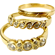 3 Vintage 9ct Gold Stacking RINGS Diamond, Plain & CZ