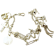 Victorian Silver ALBERTINA Bracelet & 6 Charms, TASSEL Kettle Seal etc.