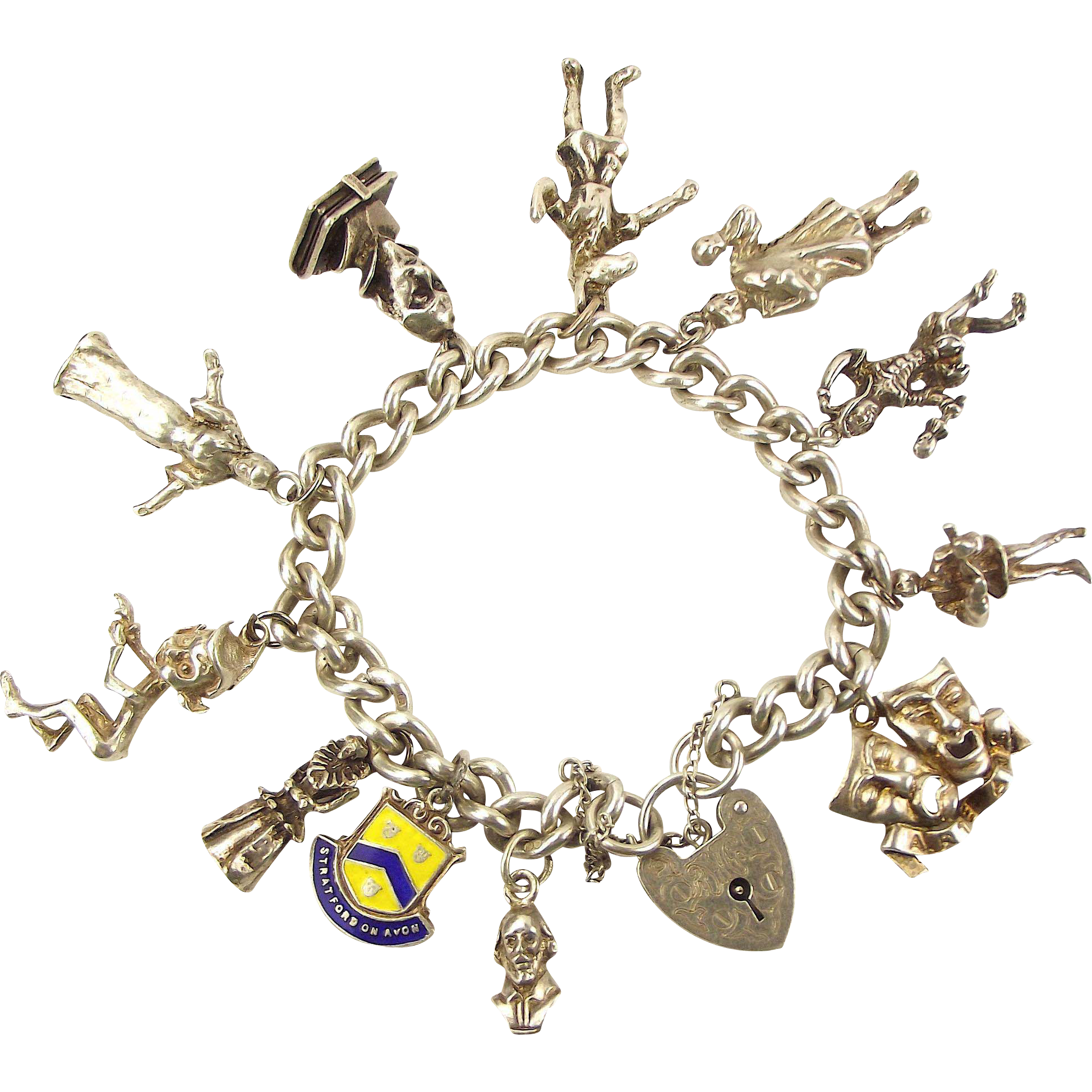 Vintage 1977 Silver SHAKESPEARE Charm Bracelet RARE Charms