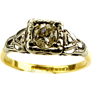 Beautiful Art Deco 18ct Gold, Platinum & 20-25 Point Diamond Ring
