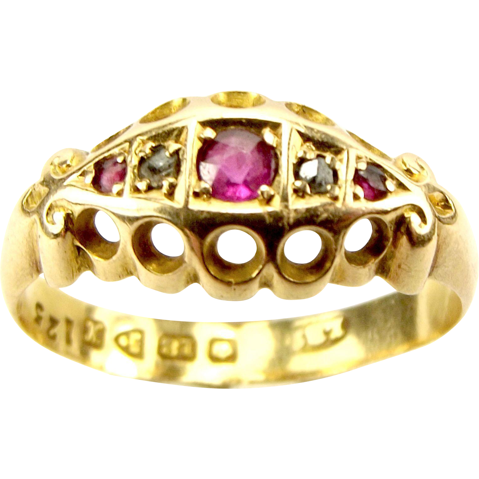 Antique EDWARDIAN 18ct Gold Ruby & Diamond Ring CHESTER 1910