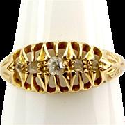 Antique VICTORIAN 18ct Gold & Diamond RING Birmingham 1887