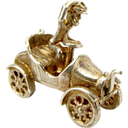 Vintage Silver Veteran CAR Charm Mechanical STARTING HANDLE Turns