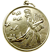Vintage US Silver Medal UNCLE SAM Fob Pendant Charm