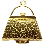 Vintage 9ct Gold Faux Crocodile HANDBAG Charm Opens PURSE etc 1952