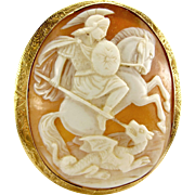 Large Victorian Cameo Shell GEORGE & DRAGON 9ct Gold Frame