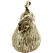 Large Vintage Silver Textured PEAR Charm FOB Pendant 1973 Heavy 11g