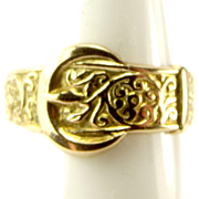 Vintage Ornate 9ct Gold BUCKLE Ring 1970 Hall Mark