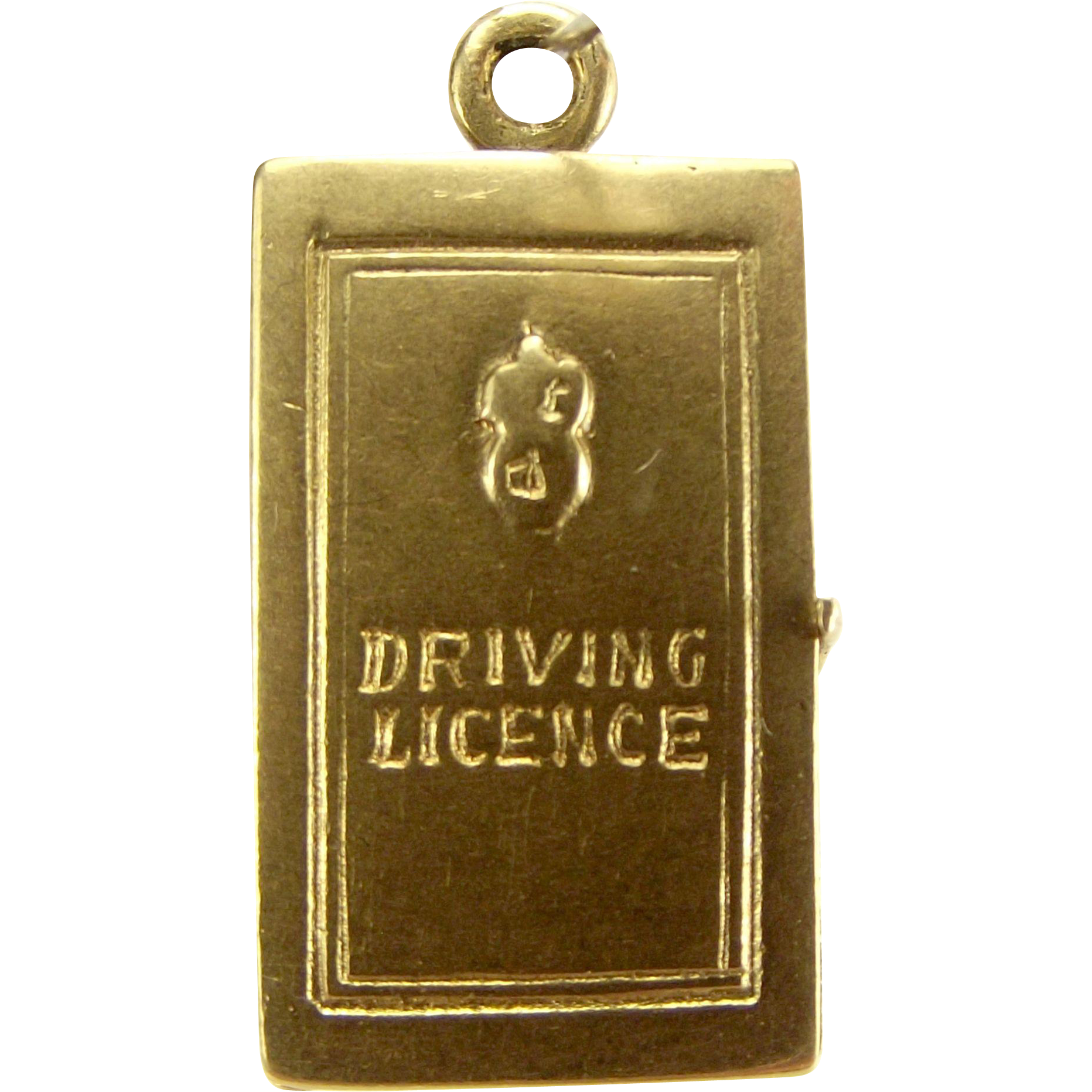 Vintage 9ct Gold DRIVING LICENCE Charm Opens Original Paper Inserts