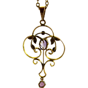 "Victorian 9ct Rose Gold & Amethyst LAVALIER Pendant + Original 23"" Gold Chain"
