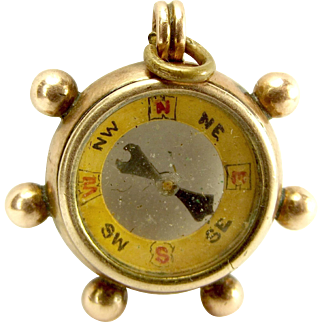 EDWARDIAN 9ct Rose Gold Ships Wheel COMPASS Fob Charm Removable 1903