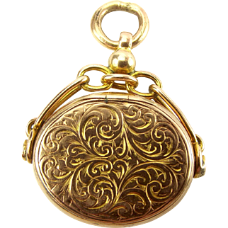 Victorian 9ct Gold & BLOODSTONE Spinning Fob Concealed LOCKET 1894
