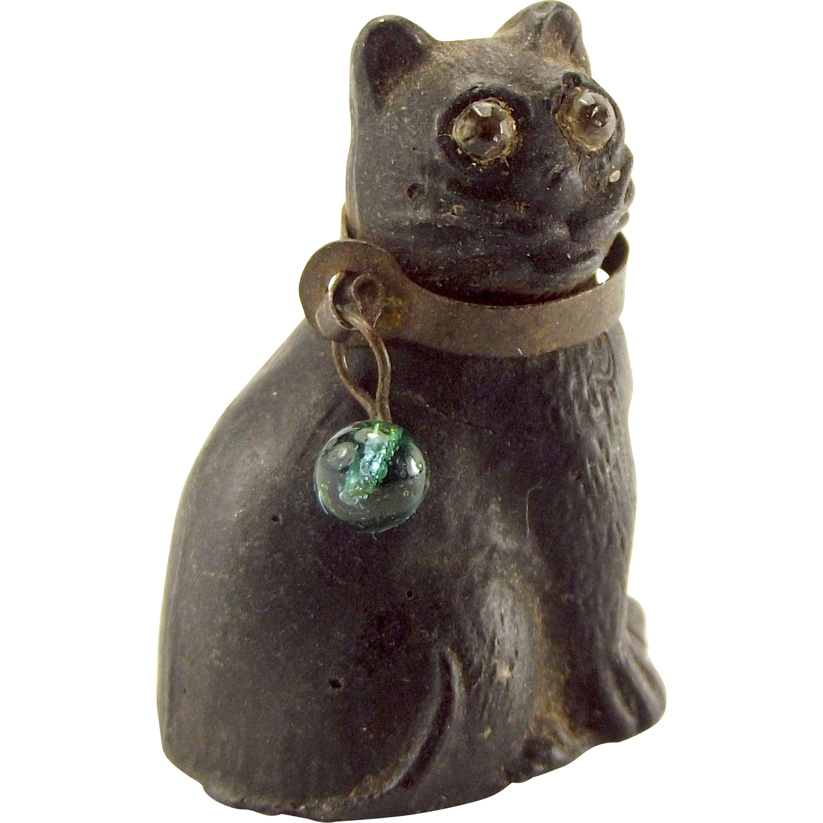 Edwardian Czechoslovakian Glass BLACK CAT Charm Paste EYES Brass COLLAR