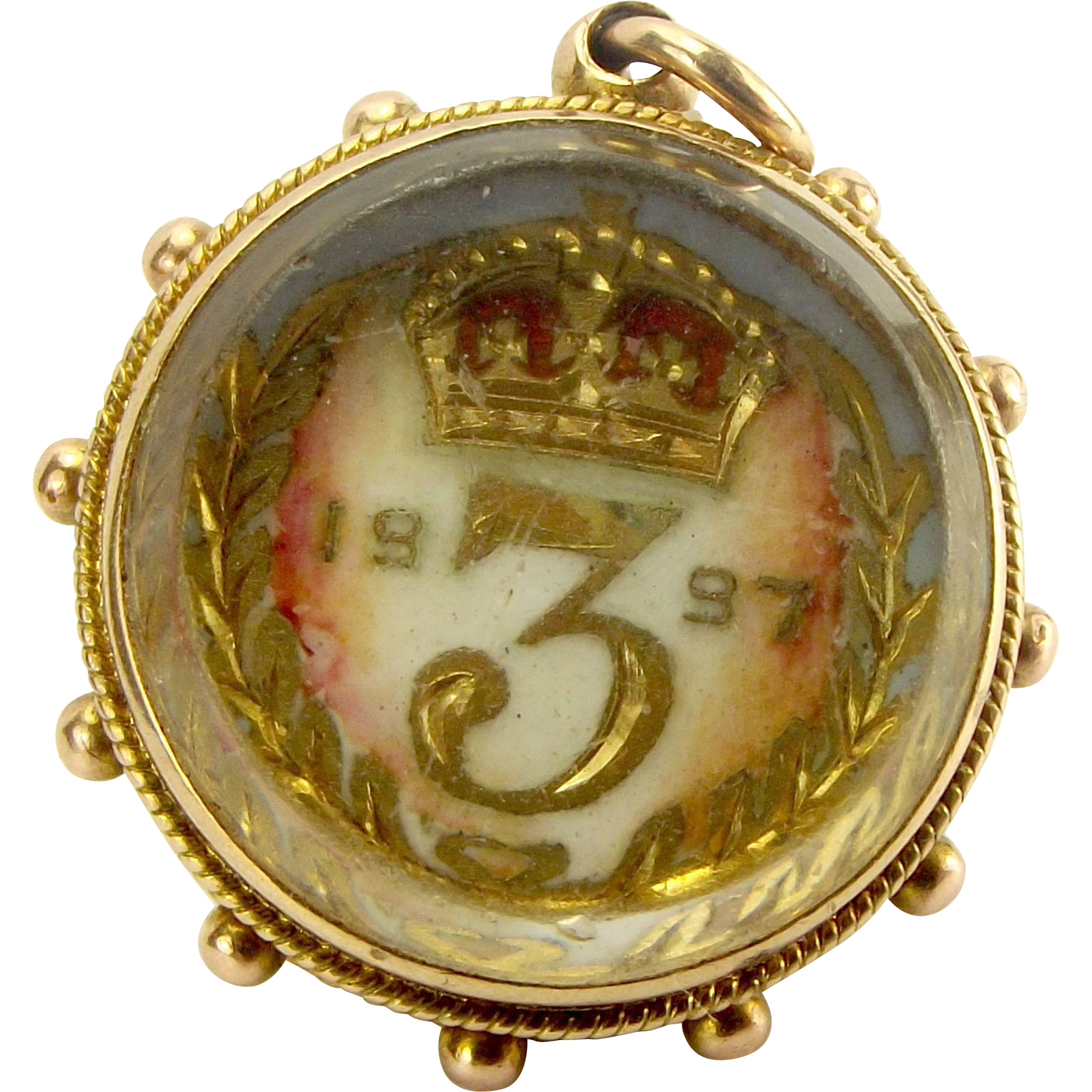 1901 Edwardian 9ct Gold FOB Victorian Silver Gilt Enamelled 3d Coin 1898