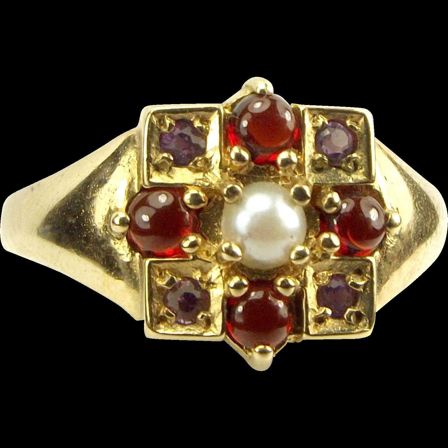 Vintage 9ct Gold RING Pearl, Garnet & Amethyst