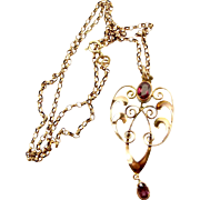 "Victorian 9ct Rose Gold & Amethyst Or Garnet LAVALIER Pendant + 18"" Gold Chain"