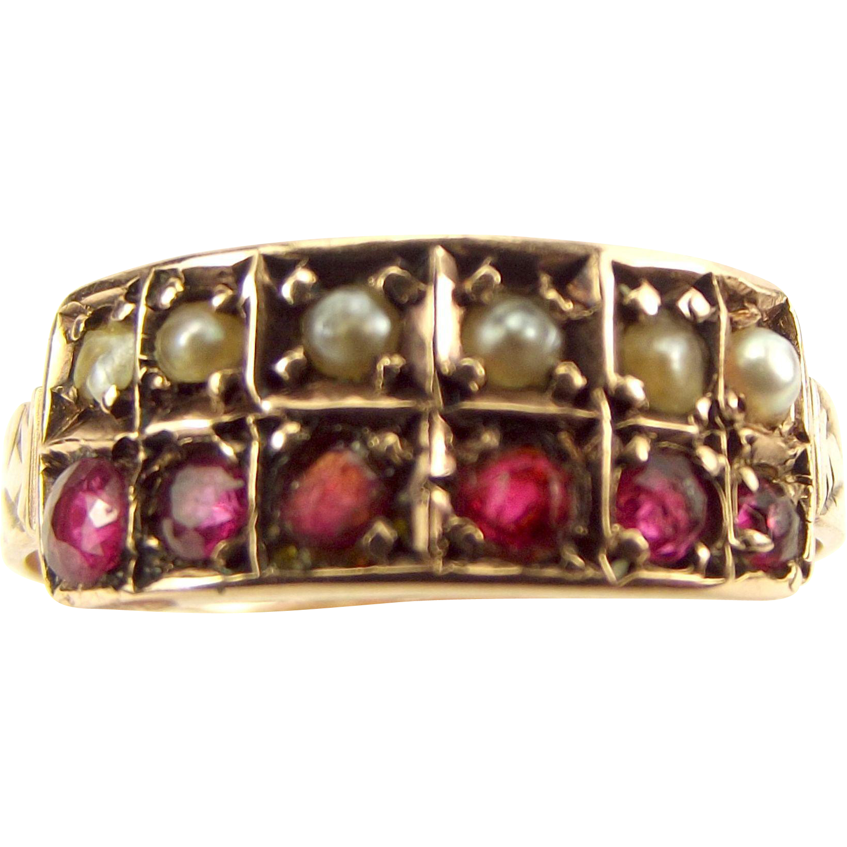Antique VICTORIAN 9ct Rose Gold Ruby & Seed Pearl RING 1897