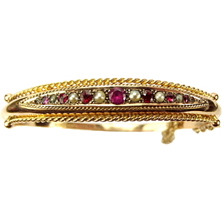 Victorian 9ct Rose GOLD Ruby & Seed Pearl BRACELET/BANGLE Boxed 1886 Hallmark