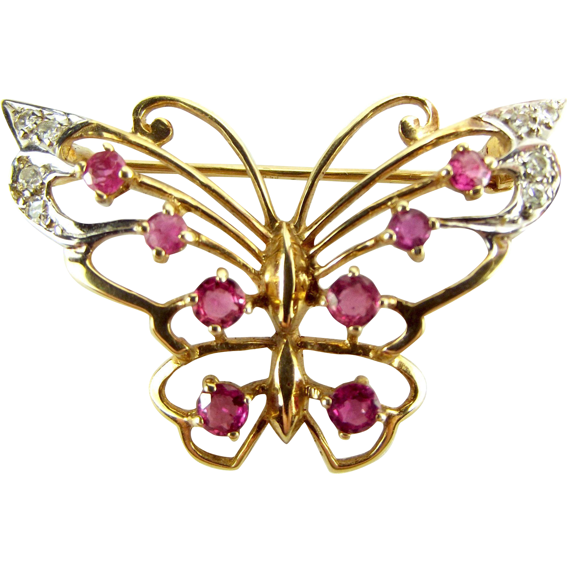 Vintage 9ct Gold Ruby & Diamond BUTTERFLY Brooch/Pin 1949 Suit Conversion To Pendant